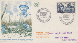 Enveloppe  FDC  1er  Jour   FRANCE   Colonel   DRIANT    NEUFCHATEL  SUR  AISNE   1956 - 1950-1959