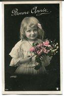 CPA - Carte Postale - Fantaisie - Portrait D'une Jeune Fille - Fleurs - Bonne Année (I9787) - Portraits