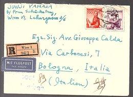 1954 6,60 S Luftpost Juni Yamada To Italy Bologna Avv. Giuseppe Calda (568) - 1945-.... 2a Repubblica