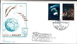 13224a)F.D.C.SAN Marino   Cometa Halley - 6 Marzo 1986 - FDC
