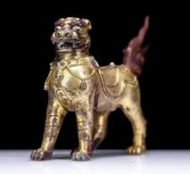 China Tibet Tibetan Buddhism Copper Gilt Lion - Cobre