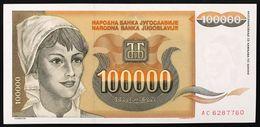 YUGOSLAVIA JUGOSLAVIA  100000 100.000 DINARA 1993  Pick#118 FDS / UNC Lotto.174 - Jugoslavia