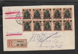 Block Of 10 X 25pf / 30pf  DANZIG On Germania Stamps Registered DANZIG LUFTPOST 29.5.22 > Memel, Front Fraagment - Danzig