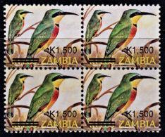 B0529 ZAMBIA 2007, SG1025, K1,500 Surcharge On K1,200 Birds Of Zambia - Small Format,  MNH Block Of 4 - Zambia (1965-...)
