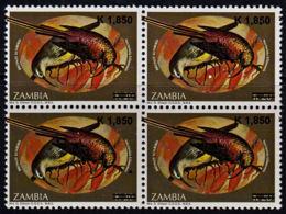 C0107 ZAMBIA 2007, SG1025, K1,850 Surcharge On K20 Sunbirds,  MNH Blocks Of 4 - Zambia (1965-...)