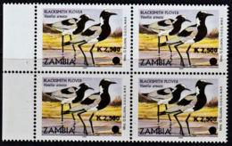 C0356 ZAMBIA 2011, SG 1063 K2,500 Surcharge On 'A' Aquatic Birds,  MNH Marginal Block Of 4 - Zambia (1965-...)