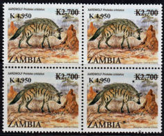 C0357 ZAMBIA 2009, SG1062, K4,950  Surcharge On K2,700 Animals (Aardwolf), MNH Block Of 4 - Zambia (1965-...)