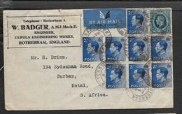 Great Britain, GVR, EVIIIR, 2'6 Air Mail ROTHERHAM YORKS 24 MR 37 > S.Africa (from W.BADGER Engineer, Rotherham) - 1902-1951 (Kings)