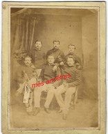 Groupe De Soldats Avant 1900-un Homme Pointé à Gauche-mention Maison Boulanger-Lefebvre Négociant à Ribécourt - Guerre, Militaire