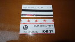 Bus Ticket From Poland - Warsaw No 3 - Fahrkarte - Transportation