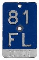 Velonummer Liechtenstein FL 81, Blau - Number Plates