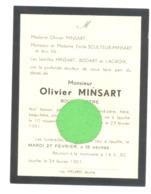 Faire-part De Décès De Mr Olivier MINS, Bourgmestre De JAUCHE  1878 / 1951 (b260) - Décès