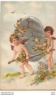 Joyeuses Pâques - Angelots Portant Un Oeuf En Relief Fait En Tissu - Easter