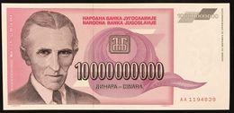 YUGOSLAVIA JUGOSLAVIA  10 BILLION 10000000000 DINARA 1993 AA  FDS / UNC Lotto.1929 - Jugoslavia