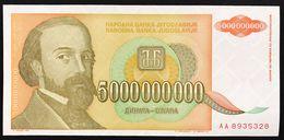 YUGOSLAVIA JUGOSLAVIA  5000000000 DINARA 1993 AA  FDS / UNC Lotto.1957 - Jugoslavia