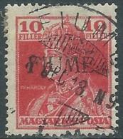 1918-19 FIUME USATO CARLO E ZITA 10 F SOPRASTAMPA V TIPO - UR29-6 - Fiume