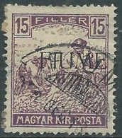 1918-19 FIUME USATO MIETITORI E VEDUTA 15 F SOPRASTAMPA A MACCHINA - UR29-6 - 8. Besetzung 1. WK