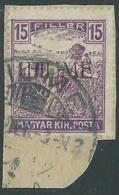 1918-19 FIUME USATO MIETITORI E VEDUTA 15 F SOPRASTAMPA A MACCHINA - UR34 - 8. Besetzung 1. WK
