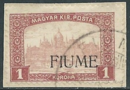 1918-19 FIUME USATO MIETITORI E VEDUTA 1 K SOPRASTAMPA A MACCHINA - UR34-2 - 8. Besetzung 1. WK
