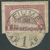 1918-19 FIUME USATO MIETITORI E VEDUTA 1 K SOPRASTAMPA II TIPO - UR34-3 - 8. Besetzung 1. WK