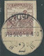 1918-19 FIUME USATO MIETITORI E VEDUTA 35 F SOPRASTAMPA A MACCHINA - UR34 - 8. Besetzung 1. WK