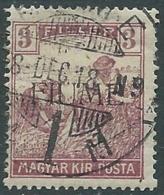 1918-19 FIUME USATO MIETITORI E VEDUTA 3 F SOPRASTAMPA II TIPO - UR29-2 - 8. Besetzung 1. WK