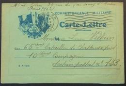 Carte-Lettre De Franchise Militaire 4 Drapeaux Impression Bleue Sur Papier Vert > 65e Bataillon De Chasseurs à Pied 1916 - Postmark Collection (Covers)