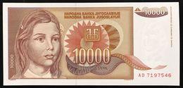 YUGOSLAVIA JUGOSLAVIA  10000 DINARA 1992  FDS / UNC Lotto.1982 - Jugoslavia