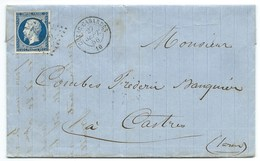 N°14 BLEU NAPOLEON SUR LETTRE / CUXAC CABARDES AUDE POUR CASTRES / 27 SEPT 1856 / BELLE NUANCE / PC 1066 INDICE 9 - 1849-1876: Classic Period