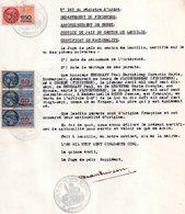 Certificat De Nationalité De Brest, Timbres Fiscaux 1 De 150 Fr Jaune, 3 De 60 Fr Bleu - Old Paper