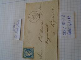 INDRE LOIRE  - TP N°60 ASSEZ RARE  IND/ 12 !!! = 90,ooeur Sur Lettre!!!!! OBL/RILLE -2 Photos - 1849-1876: Periodo Classico
