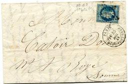 PARIS R DU PONT-NEUF LAC Du 30/12/1869 Avec N°29 Oblitéré Etoile 17 - 1849-1876: Classic Period