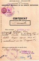 Certificat De Domicile De Angers, Timbre Fiscal 7 Franc Rose - Documentos Antiguos