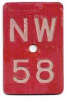 Velonummer Nidwalden NW 58 - Number Plates