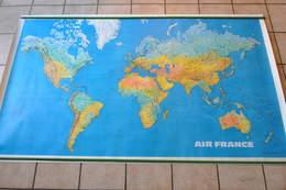VIEILLE AFFICHE CARTE DU MONDE AIR FRANCE Vers 1970 - POSTER - Plakate