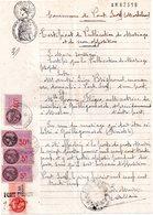 Certificat De Publication De Mariage, Pont Scorff 56, Timbres Fiscaux 1 De 50 Fr, 1 De 40 Fr,2 De 5 Fr Et Communale De 2 - Documentos Antiguos