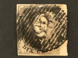 BELGIQUE - N°3a Y&T - 10c Brun Léopold 1er - Papier épais - Oblitération Grille 198 - 1849-1850 Medallions (3/5)