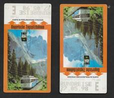 2 TITRES DE TRANSPORT 1998 BAYERISCHE ZUGSPITZBAHNEN CHEMINS DE FER BAVAROIS  Illustrées Train Et Téléphérique - Spoorwegen