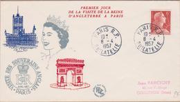 ENVELOPPE TIMBRE  1957 PARIS RP PHILATELIE (VISITE DES SOUVERAINS ANGLAIS PARIS)VOIR PHOTOS - Marcophilie (Lettres)