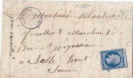 20333# LETTRE Datée De ST JULIEN BOITE RURALE G Obl LAMARCHE 1858 T15 VOSGES - Postmark Collection (Covers)