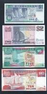 Vintage !  Set Of 4 Singapore $1 $2 $5 $10 Vessel Boat Ships Series AU Banknote (#113B) - Singapore