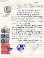 Certificat De Nationalité, Landivisiau, Timbres Fiscaux 2 De 20 Fr Bleu, 1 De 10 Fr Bleu Et 2 De 3 Francs Roses - Old Paper