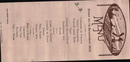 2330 MENU1933  NON  ECRITE - Recettes (cuisine)
