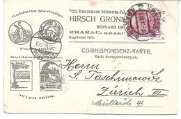 1672l: Krakau- Werbekarte 1910 Mit Öst. Frankatur Hirsch Gronners Sohn - Briefe U. Dokumente
