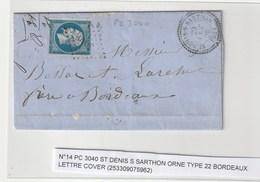 """Lettre Avec Classiques De France: Napoléon N°14 Avec Cachet Perlé St Denis Sur Sarthon ,variété """"T"""" De Poste Barré - 1853-1860 Napoleone III"""