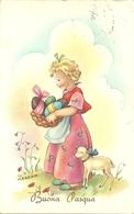 """Cartolina """"Buona Pasqua"""", Bambina Con Cesta Uova E Pecorella, Illustrazione, M. Barnini Illustratore (I07) - Ostern"""