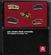 BOITE 5 PIN'S LES JOURS FOUS CITROËN 09 - 10 / 1991 BX AX ZX XM - Pin's