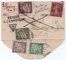 Enveloppe Format Carte De Visite SEMEUSE PARIS 1929 Taxe 70c Deux Compositions DUVAL (refusé, Retour à L'envoyeur) SUP! - Segnatasse