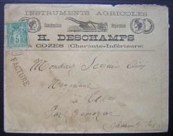 Cozes (Charente Inférieure) H. Deschamps Instruments Agricoles Pour Tesson, Par Gémozac - Poststempel (Briefe)