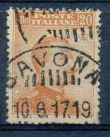 [104793]O//-N° 103, 20c Orange, Victor Emmanuel III, Sans Filigrane, Obl Concours 'SAVONA', Peu Courant, Cote 5?. - Oblitérés